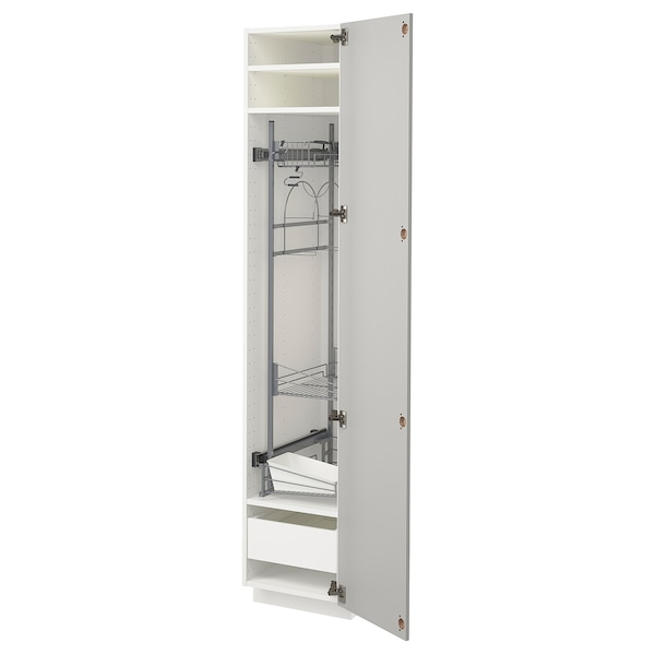 METOD / MAXIMERA High cabinet with cleaning interior, white/Ringhult light grey, 40x60x200 cm