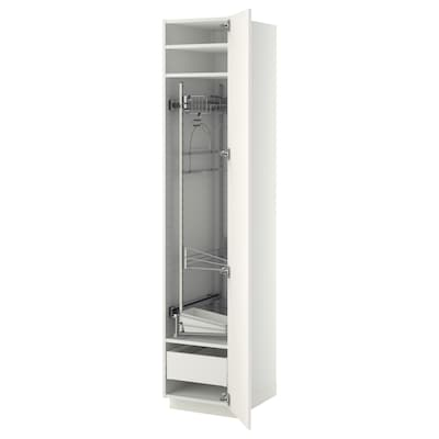 METOD / MAXIMERA خزانة مرتفعة مع أرفف مواد نظافة, أبيض/Veddinge أبيض, 40x60x200 سم