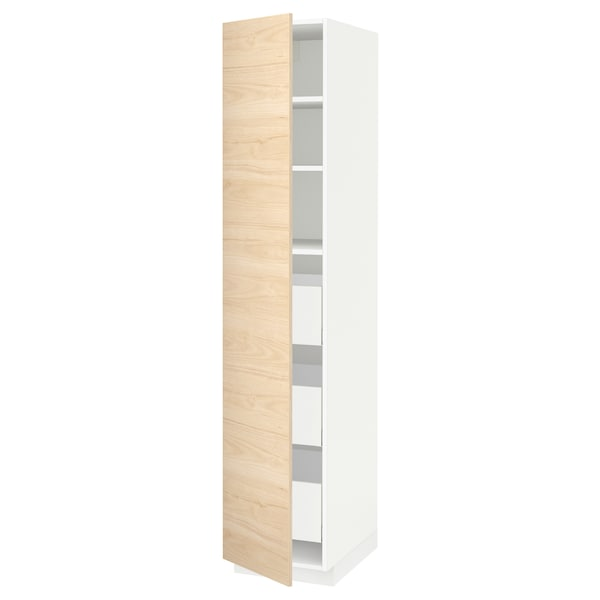 METOD / MAXIMERA خزانة عالية بأدراج, أبيض/Askersund مظهر دردار خفيف, 40x60x200 سم