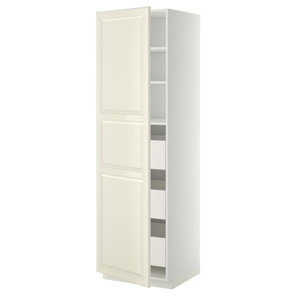 METOD / MAXIMERA خزانة عالية بأدراج, أبيض/Bodbyn أبيض-عاجي, 60x60x200 سم