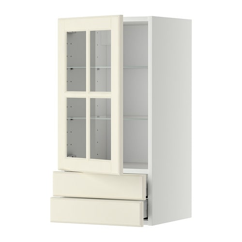 METOD / MAXIMERA Wall Cabinet W Glass Door/2 Drawers