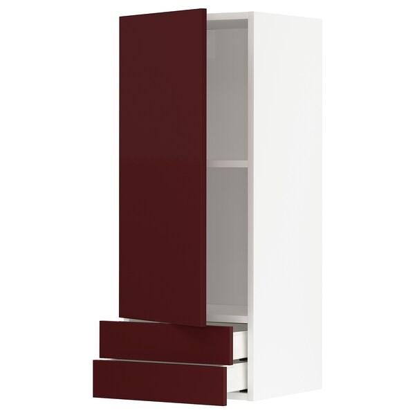 METOD / MAXIMERA خ. قاعدة مع باب/2 أدراج, أبيض Kallarp/لامع أحمر-بني غامق, 40x100 سم