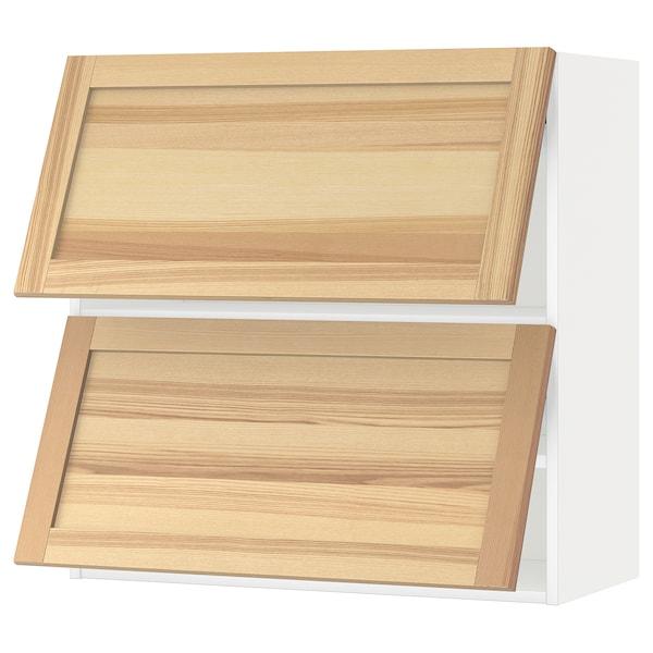 METOD خزانة حائط أفقية ٢ باب/فتح بالضغط, أبيض/Torhamn رماد, 80x80 سم