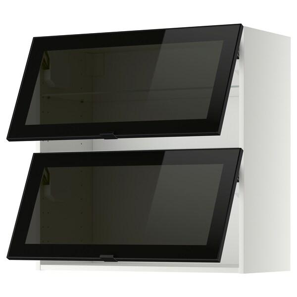 METOD wall cab horizontal w 2 glass doors white/Jutis smoked glass 80.0 cm 38.8 cm 80.0 cm