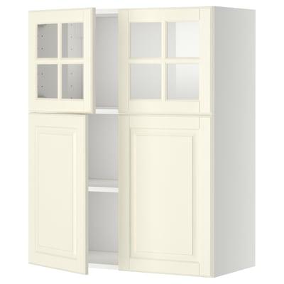 METOD خ.حائط+أرفف/2 باب/2 ب. زجاجي, أبيض/Bodbyn أبيض-عاجي, 80x100 سم