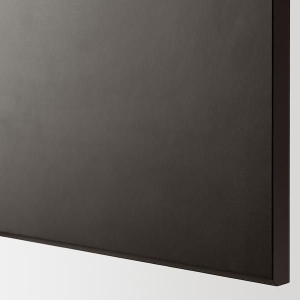 METOD خزانة حائط أفقية مع بابين زجاجية, أسود/Kungsbacka فحمي, 80x80 سم