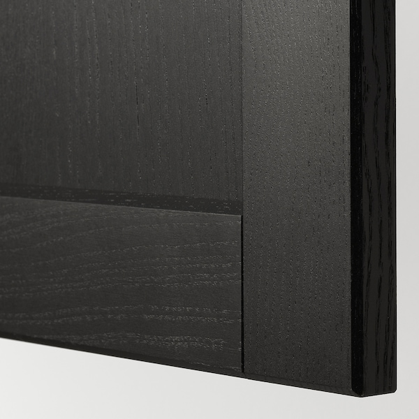 METOD خزانة حائط أفقية مع بابين زجاجية, أسود/Lerhyttan صباغ أسود, 80x80 سم