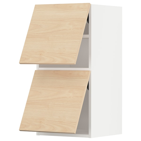 METOD Wall cabinet horizontal w 2 doors, white/Askersund light ash effect, 40x80 cm