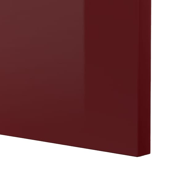 METOD خزانة حائط أفقية مع بابين زجاجية, أبيض Kallarp/لامع أحمر-بني غامق, 80x80 سم