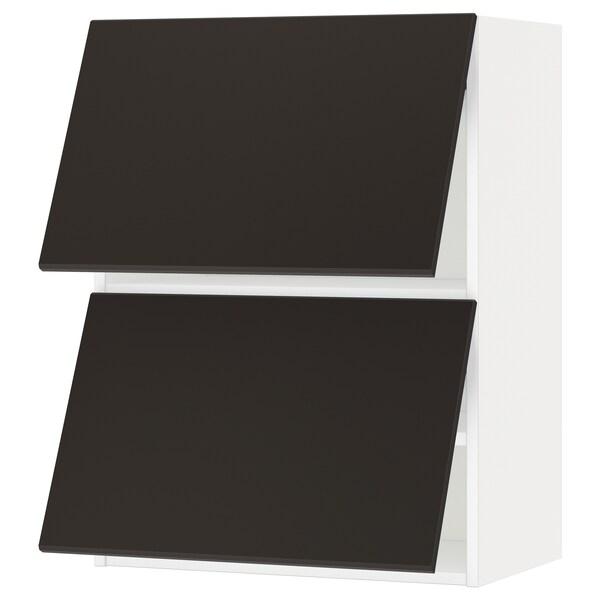 METOD خزانة حائط أفقية مع بابين زجاجية, أبيض/Kungsbacka فحمي, 60x80 سم