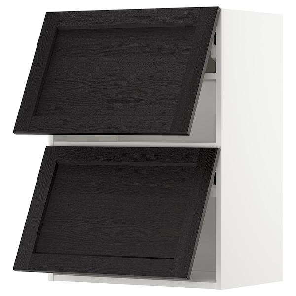 METOD خزانة حائط أفقية مع بابين زجاجية, أبيض/Lerhyttan صباغ أسود, 60x80 سم