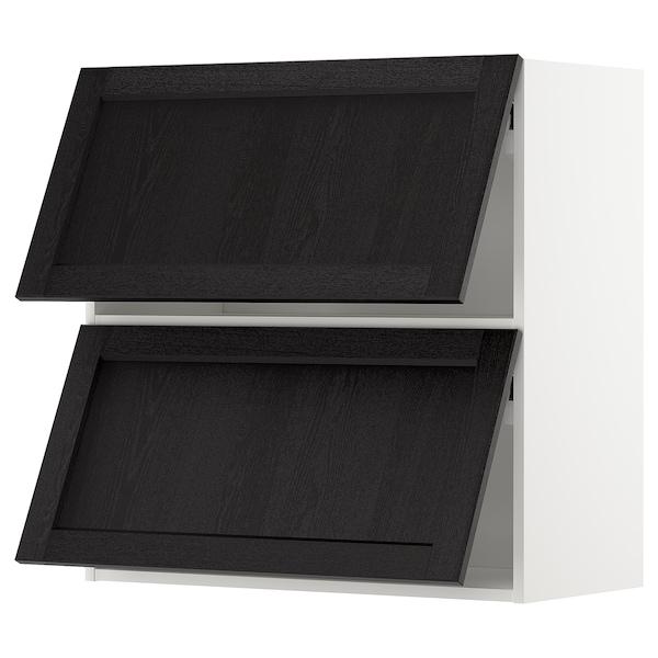 METOD خزانة حائط أفقية مع بابين زجاجية, أبيض/Lerhyttan صباغ أسود, 80x80 سم