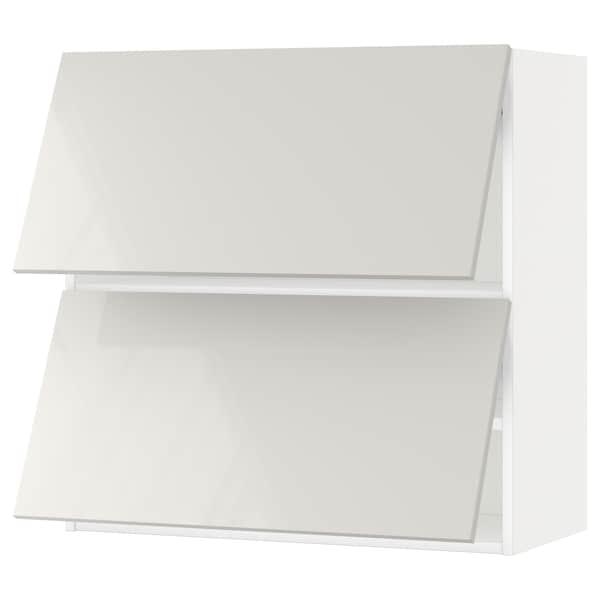 METOD خزانة حائط أفقية مع بابين زجاجية, أبيض/Ringhult رمادي فاتح, 80x80 سم