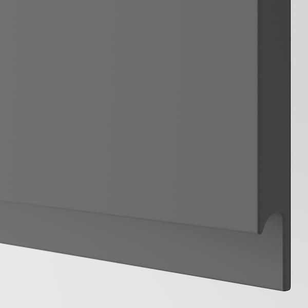 METOD خزانة حائط أفقية مع بابين زجاجية, أبيض/Voxtorp رمادي غامق, 80x80 سم