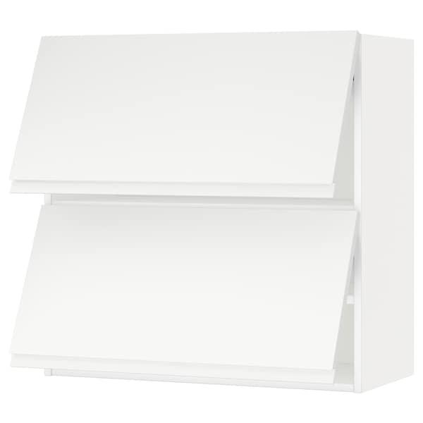 METOD خزانة حائط أفقية مع بابين زجاجية, أبيض/Voxtorp أبيض مطفي, 80x80 سم