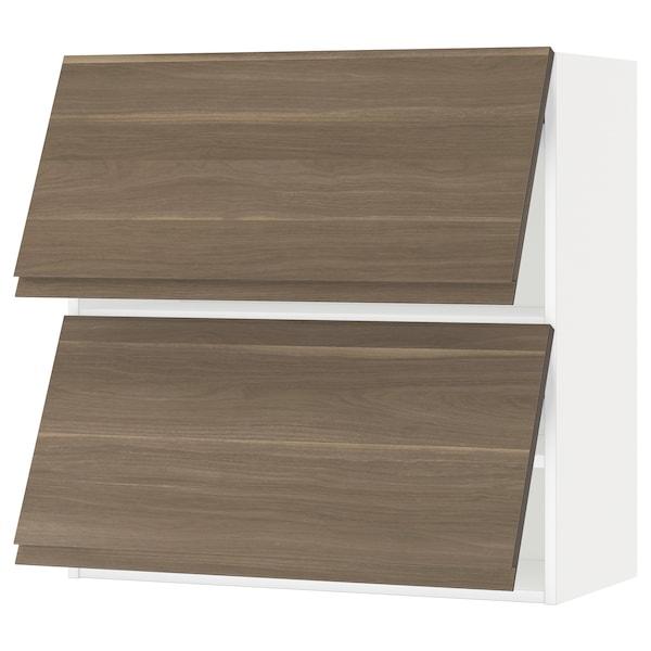 METOD خزانة حائط أفقية مع بابين زجاجية, أبيض/Voxtorp شكل خشب الجوز, 80x80 سم