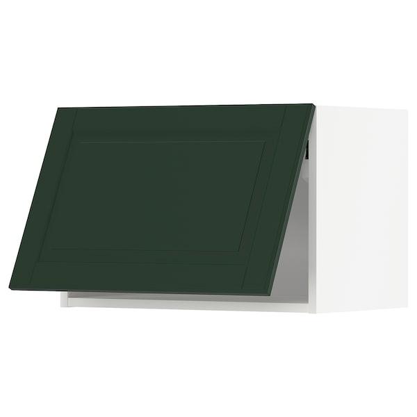 METOD خزانة حائط أفقية مع آلية فتح بالقفل, أبيض/Bodbyn أخضر غامق, 60x40 سم