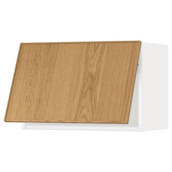 METOD خزانة حائط أفقية مع آلية فتح بالقفل, أبيض/Ekestad سنديان, 60x40 سم