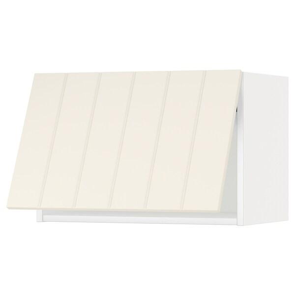 METOD خزانة حائط أفقية مع آلية فتح بالقفل, أبيض/Hittarp أبيض-عاجي, 60x40 سم