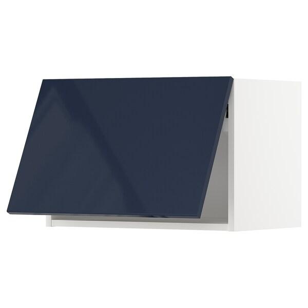 METOD خزانة حائط أفقية مع آلية فتح بالقفل, أبيض/Järsta أسود-أزرق, 60x40 سم