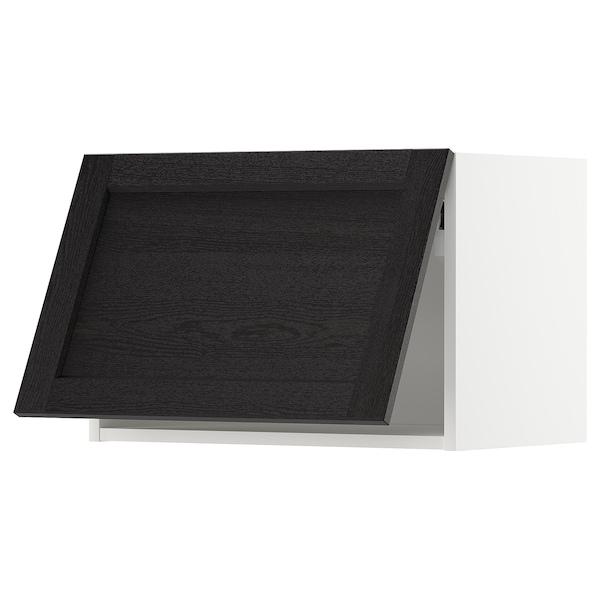 METOD خزانة حائط أفقية مع آلية فتح بالقفل, أبيض/Lerhyttan صباغ أسود, 60x40 سم