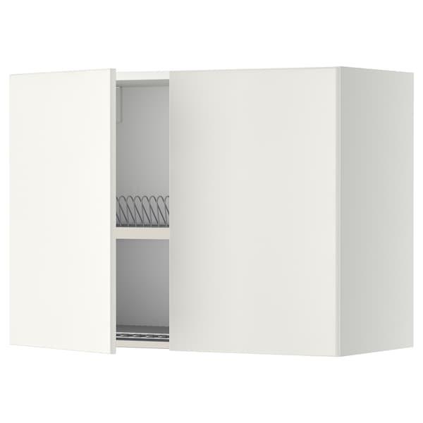 METOD Wall cabinet w dish drainer/2 doors, white/Veddinge white, 80x60 cm