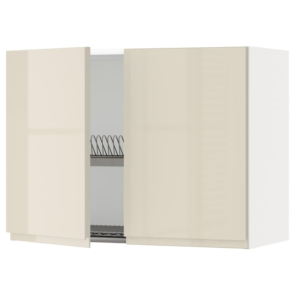 METOD Wall cabinet w dish drainer/2 doors, white/Voxtorp high-gloss light beige, 80x60 cm