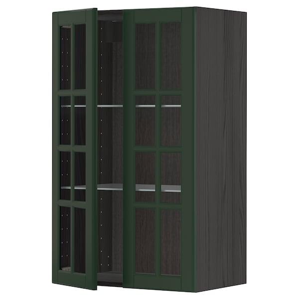 METOD خزانة حائط مع أرفف/بابين زجاجية, أسود/Bodbyn أخضر غامق, 60x100 سم