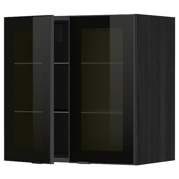 METOD خزانة حائط مع أرفف/بابين زجاجية, أسود/Jutis زجاج مدخّن, 60x60 سم
