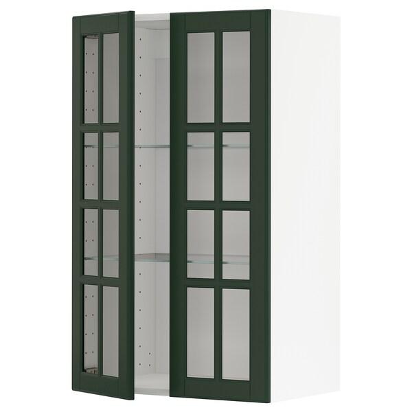 METOD خزانة حائط مع أرفف/بابين زجاجية, أبيض/Bodbyn أخضر غامق, 60x100 سم