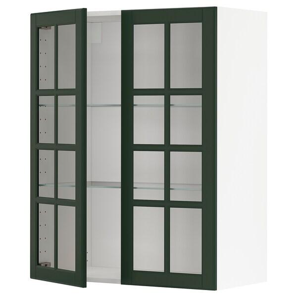 METOD خزانة حائط مع أرفف/بابين زجاجية, أبيض/Bodbyn أخضر غامق, 80x100 سم