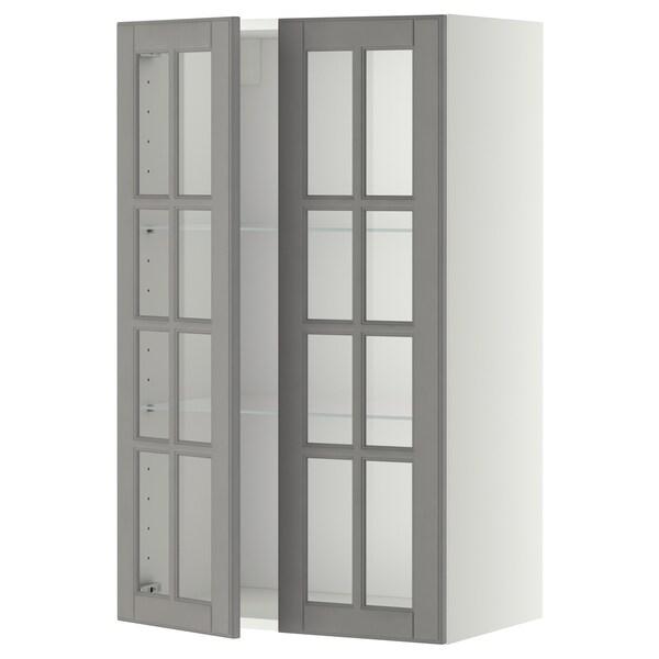 METOD خزانة حائط مع أرفف/بابين زجاجية, أبيض/Bodbyn رمادي, 60x100 سم