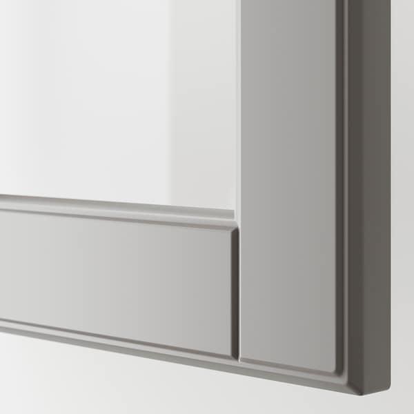 METOD خزانة حائط مع أرفف/بابين زجاجية, أبيض/Bodbyn رمادي, 80x100 سم