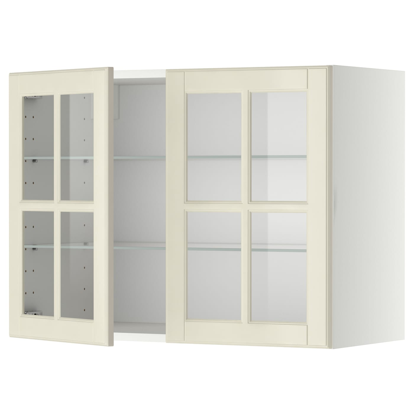 Wall Cabinet W Shelves 2 Glass Drs Metod White Bodbyn Off White