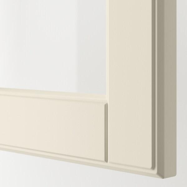 METOD خزانة حائط مع أرفف/بابين زجاجية, أبيض/Bodbyn أبيض-عاجي, 60x100 سم