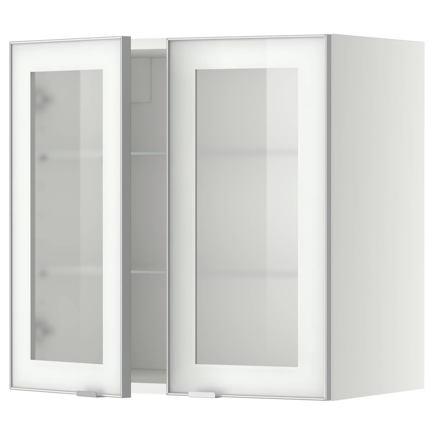 Wall Cabinet W Shelves 2 Glass Drs Metod White Jutis Frosted Glass