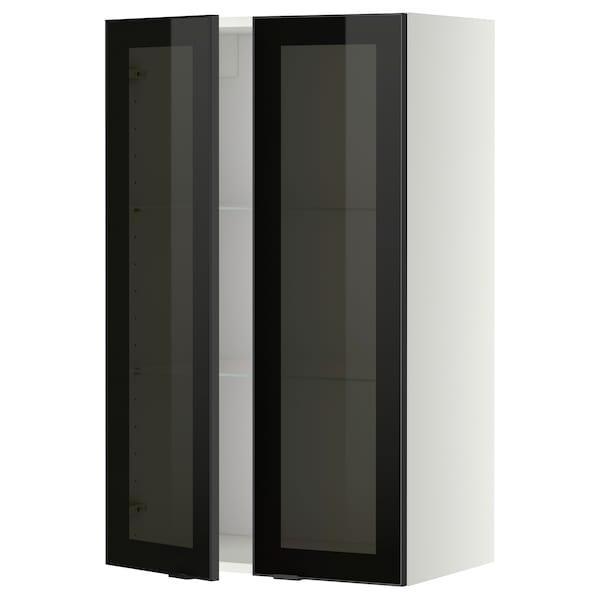 METOD خزانة حائط مع أرفف/بابين زجاجية, أبيض/Jutis زجاج مدخّن, 60x100 سم