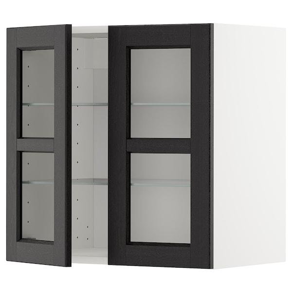 METOD خزانة حائط مع أرفف/بابين زجاجية, أبيض/Lerhyttan صباغ أسود, 60x60 سم