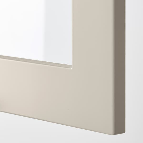 METOD خزانة حائط مع أرفف/بابين زجاجية, أبيض/Stensund بيج, 80x60 سم