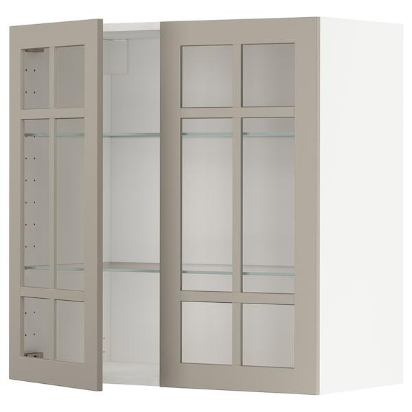 METOD خزانة حائط مع أرفف/بابين زجاجية, أبيض/Stensund بيج, 80x80 سم