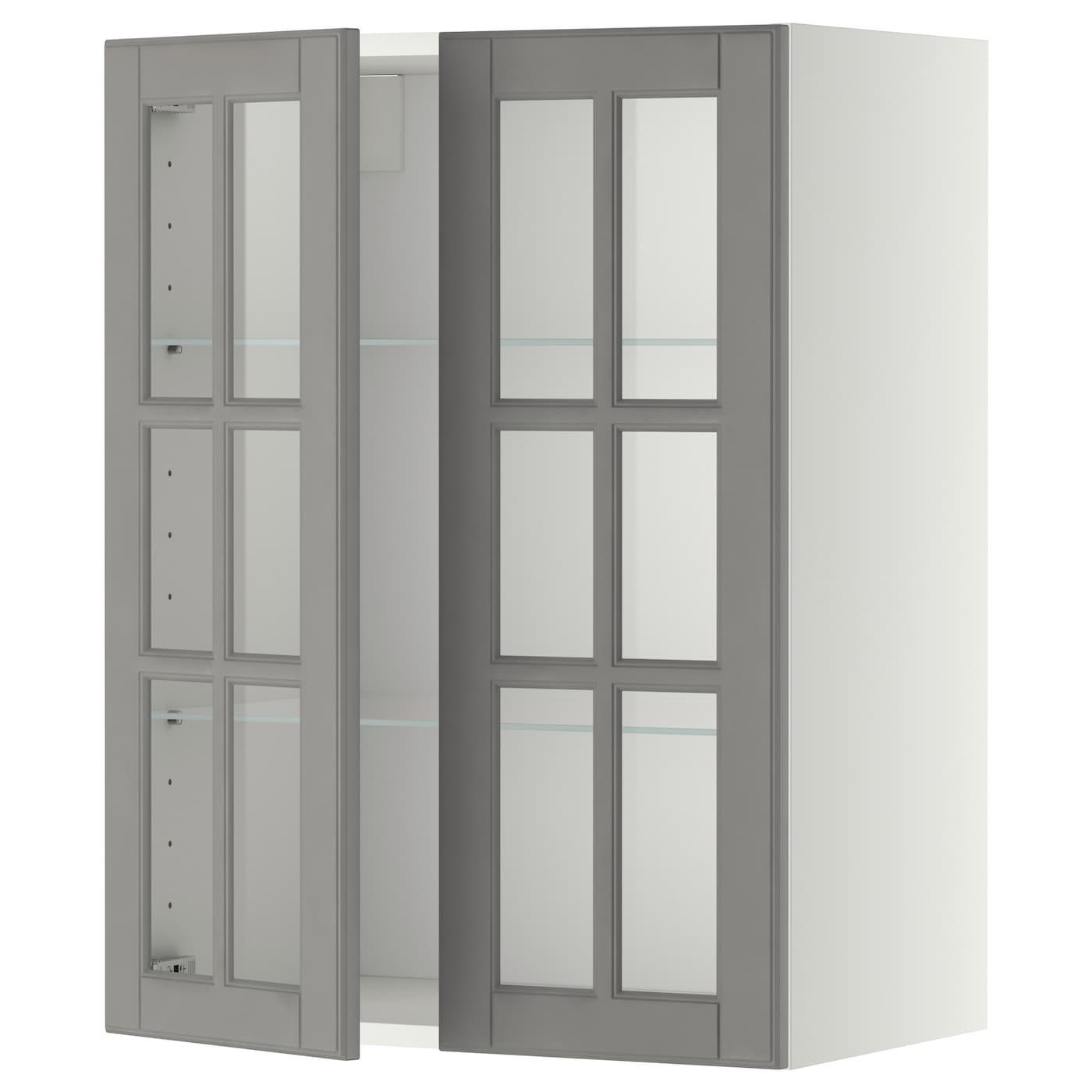 Wall Cabinet W Shelves 2 Glass Drs Metod White Bodbyn Grey