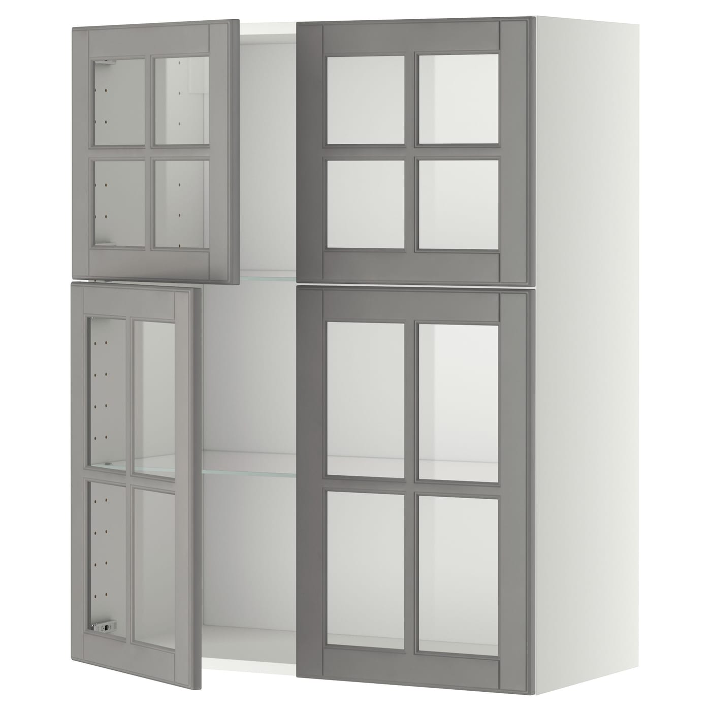 Wall Cabinet W Shelves 4 Glass Drs Metod White Bodbyn Grey