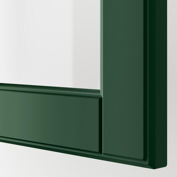 METOD خزانة حائط مع أرفف/باب زجاجي, أسود/Bodbyn أخضر غامق, 40x60 سم