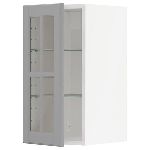 METOD خزانة حائط مع أرفف/باب زجاجي, أبيض/Bodbyn رمادي, 30x60 سم