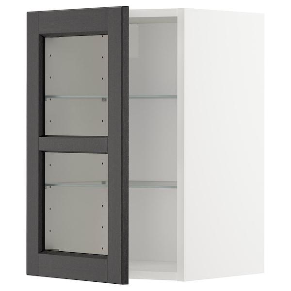 METOD خزانة حائط مع أرفف/باب زجاجي, أبيض/Lerhyttan صباغ أسود, 40x60 سم