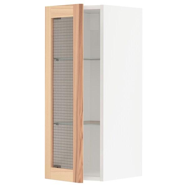 METOD خزانة حائط مع أرفف/باب زجاجي, أبيض/Torhamn رماد, 30x80 سم
