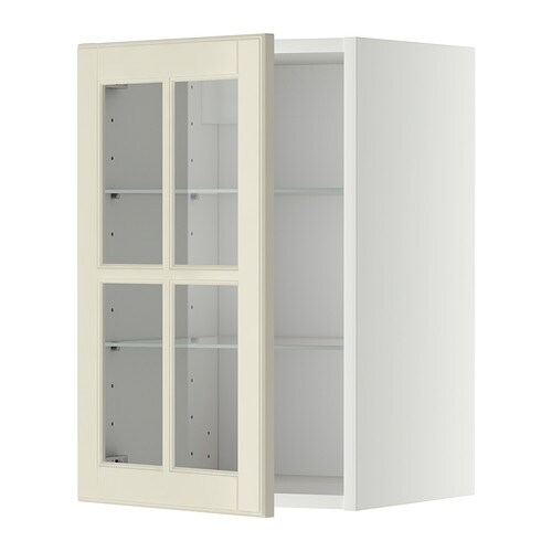 Metod wall cabinet w shelves glass door white bodbyn for Off the shelf cabinets