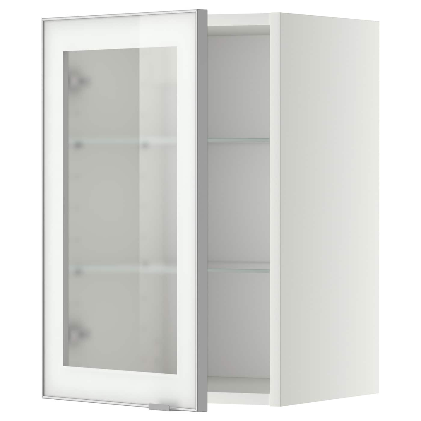 Wall Cabinet W Shelves Glass Door Metod White Jutis Frosted Glass