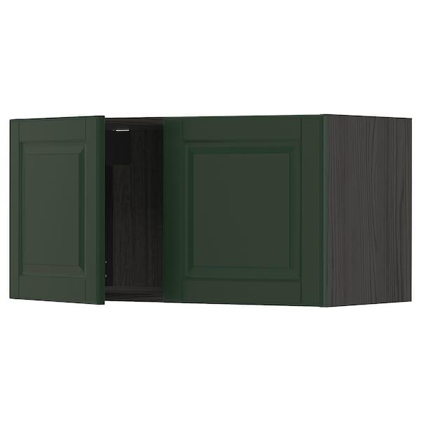 METOD خزانة حائط مع بابين, أسود/Bodbyn أخضر غامق, 80x40 سم