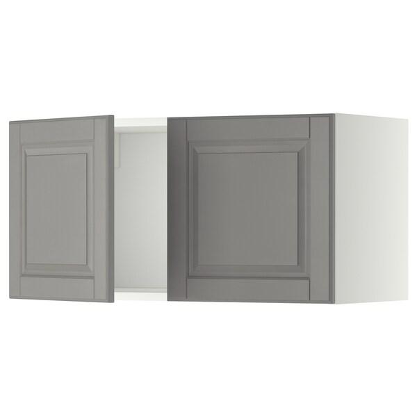 METOD خزانة حائط مع بابين, أبيض/Bodbyn رمادي, 80x40 سم